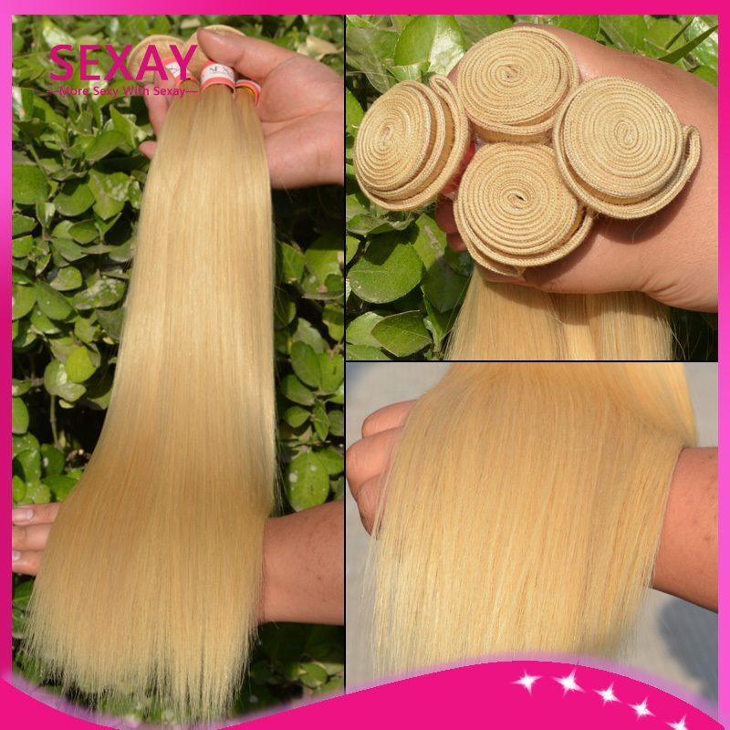7A Russian Blonde Virgin Hair Weaves 3 Pcs Lot Peruvian 613 Human Hair Straight Blonde Remy Hair Extensions 12-26inch Wholesale(China (Mainland))