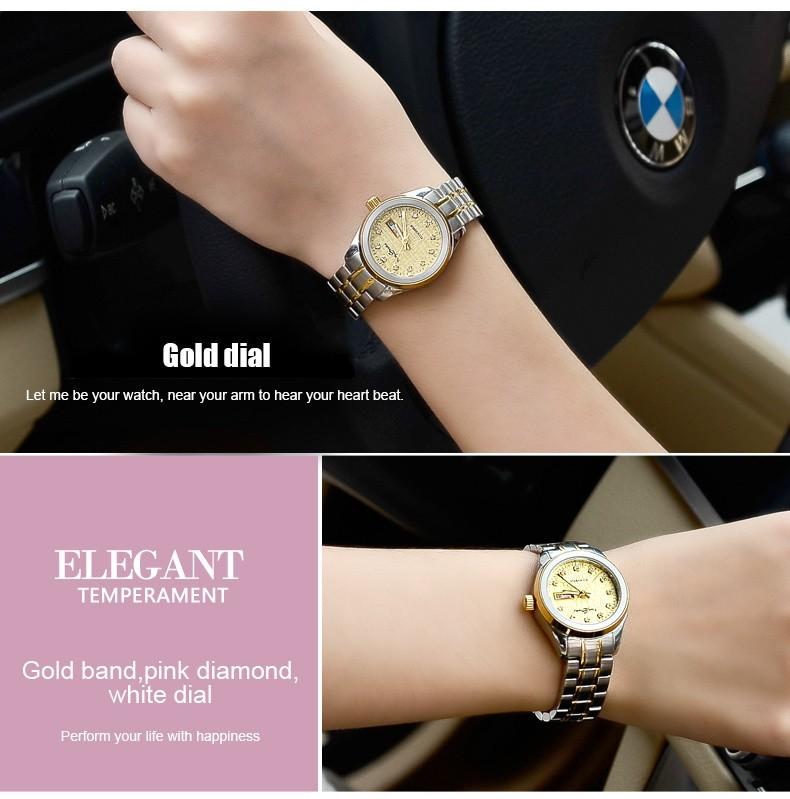 Новый Люксовый Бренд женские Часы Полная Сталь Календарь Наручные часы Женщины Автоматическая Механическая Мода ПР Леди Коммерческий Часы