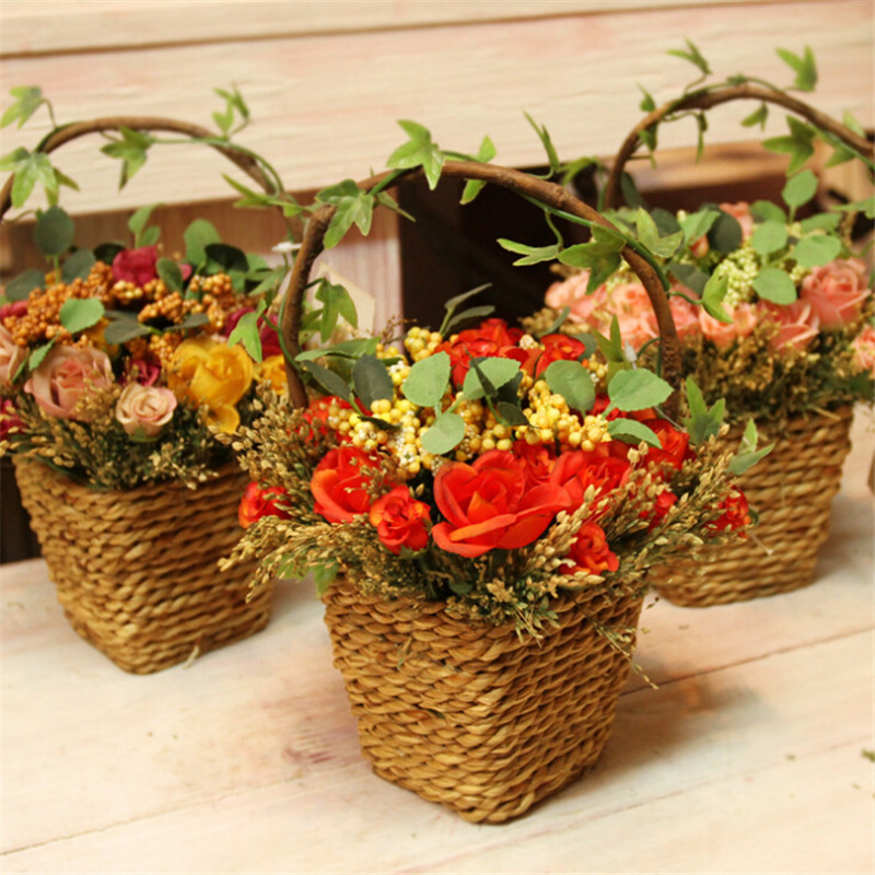 Cheap Hanging Baskets With Flowers : Factory wholesale artificial decorative silk flowers wall
