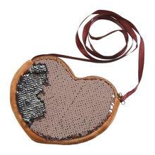 Mignon fille amour sac à bandoulière en forme de coeur paillettes sac à main croix corps dessin animé enfants sac bolsa feminina sacs pour femmes livraison directe(China)