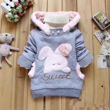 2015 Retail Children Clothing Cartoon Rabbit Fleece Outerwear girl fashion clothes/hooded jacket/Winter Coat roupa infantil