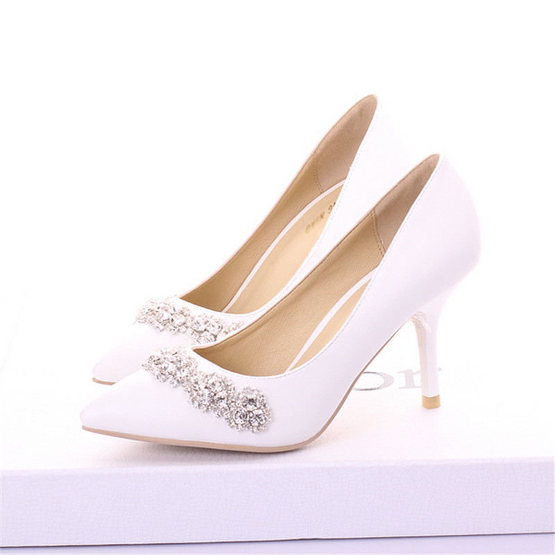 Spring brief white wedding shoes shallow mouth high-heeled bridal shoes rhinestone formal dress shoes<br><br>Aliexpress
