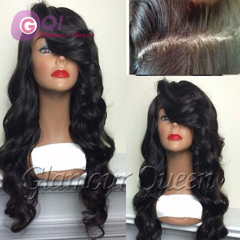 Фотография GQ High quality long body wave Virgin human hair lace front wig / glueless full lace wigs for black women sexy Brazilian wig