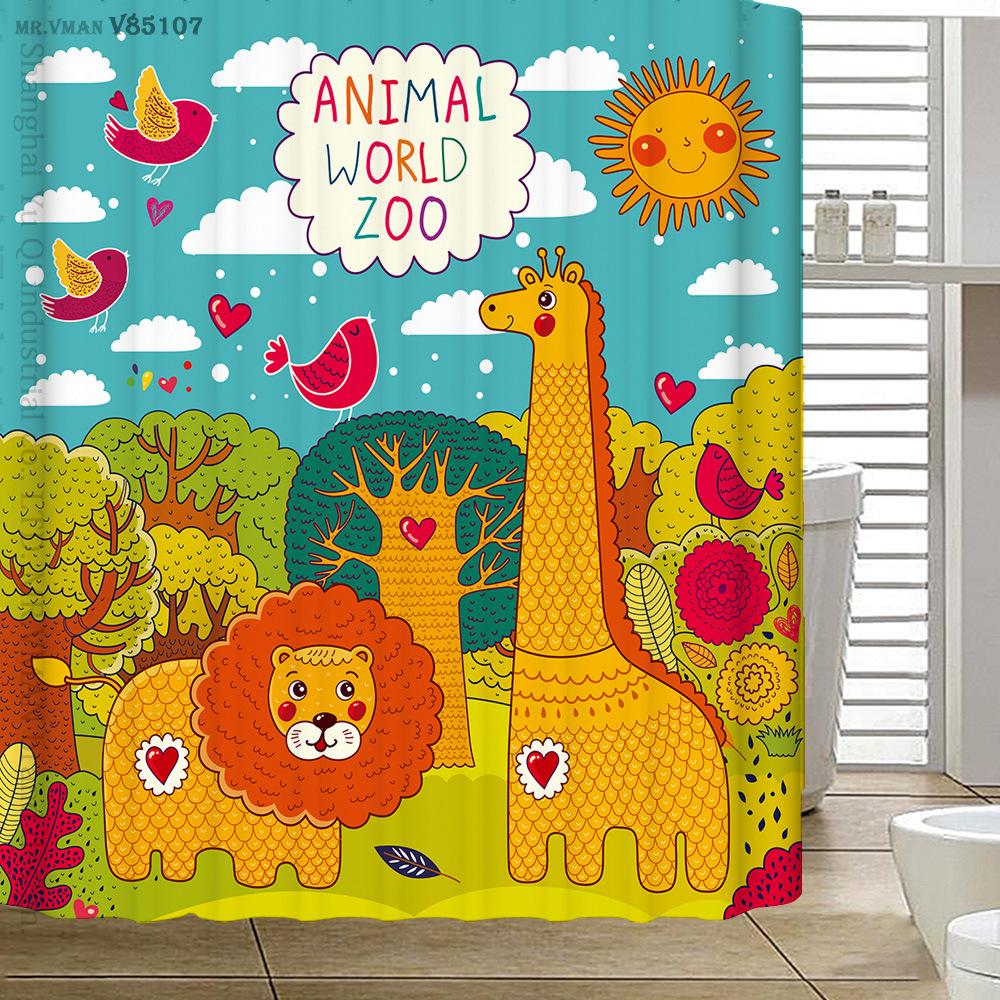 180x180cm Polyester Waterproof Shower Curtain Cartoon Cute Animal Zoo thicken Bathroom Curtain High-grade Cortina De Bano(China (Mainland))
