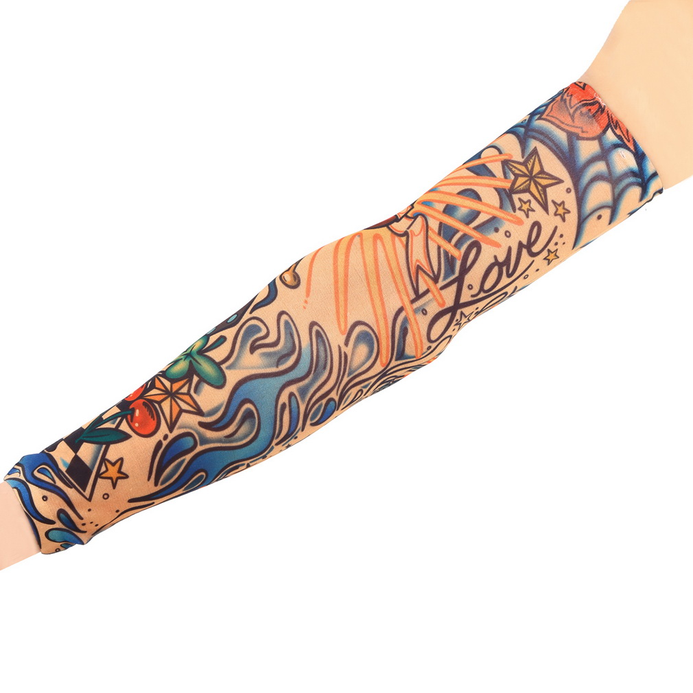 1pc Fake Tattoo Elastic Arm Sleeve Arm Stockings Sport Skins Sun Protective For Cool Men Women Hot Selling Style Random SPT0008(China (Mainland))