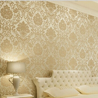 Vintage Classic Beige French Modern Damask Feature Wallpaper Wall paper Roll For Living Room Bedroom TV Backdrop(China (Mainland))