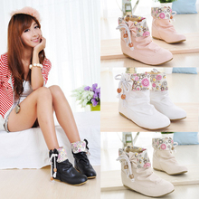 2016 New Fashion Bow Bowknot Floral Printed Women Cute Casual Round Toe PU Leather Ankle Flat Boots Sweet Big Size Shoes O543