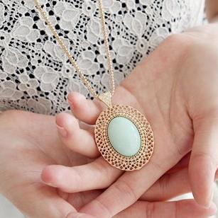 Гаджет  Fashion accessories oval cutout gem necklace lovers necklace 206 None Ювелирные изделия и часы