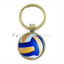 Buy Leisure accessories beach volleyball key chain charm volleyball picture print round glass alloy keychain ball fans gift KC255 for $1.02 in AliExpress store