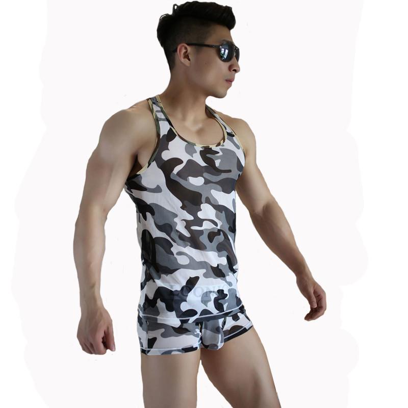 2016 Brand New Summer Camouflage Sleeveless Under Shirts Slim Fit Mens Breathable Gym Singlets Printing Men Undershirts SMT615