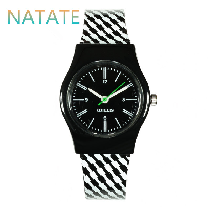 NATATE Women Willis Stripe Mini Waterproof Watches Round Dial Analog Wrist Watch Women Brand With Resins Band 0940(China (Mainland))