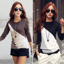 Free Ship Casual T Shirts Women Blouse 2015 Long sleeve Cotton T shirt Basic Tops tees