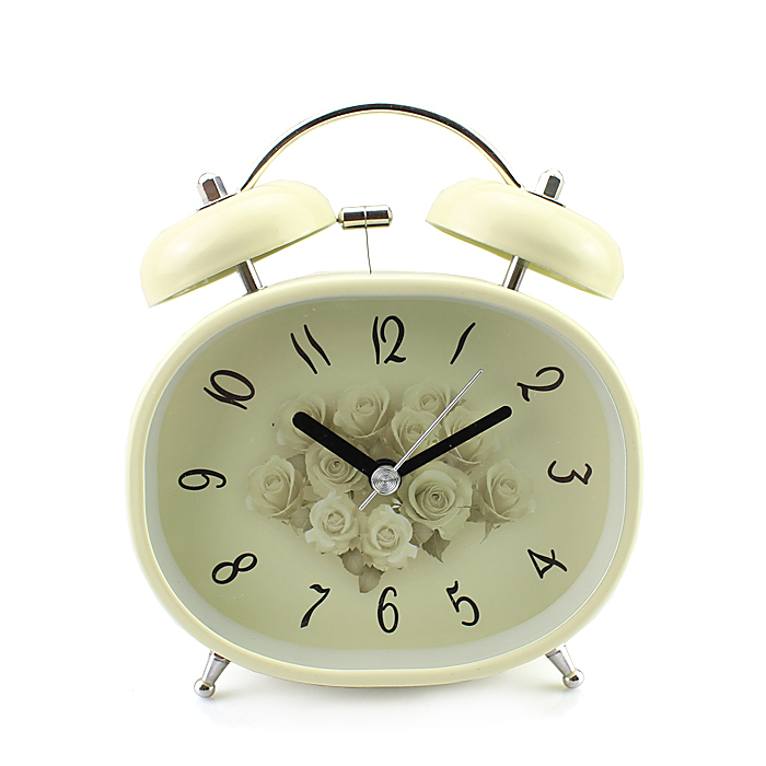 "3.5"" Oval Vintage Egg Style Loud Hammer Two Bell Alarm Clock Nightlight Flower Pattern(China (Mainland))"