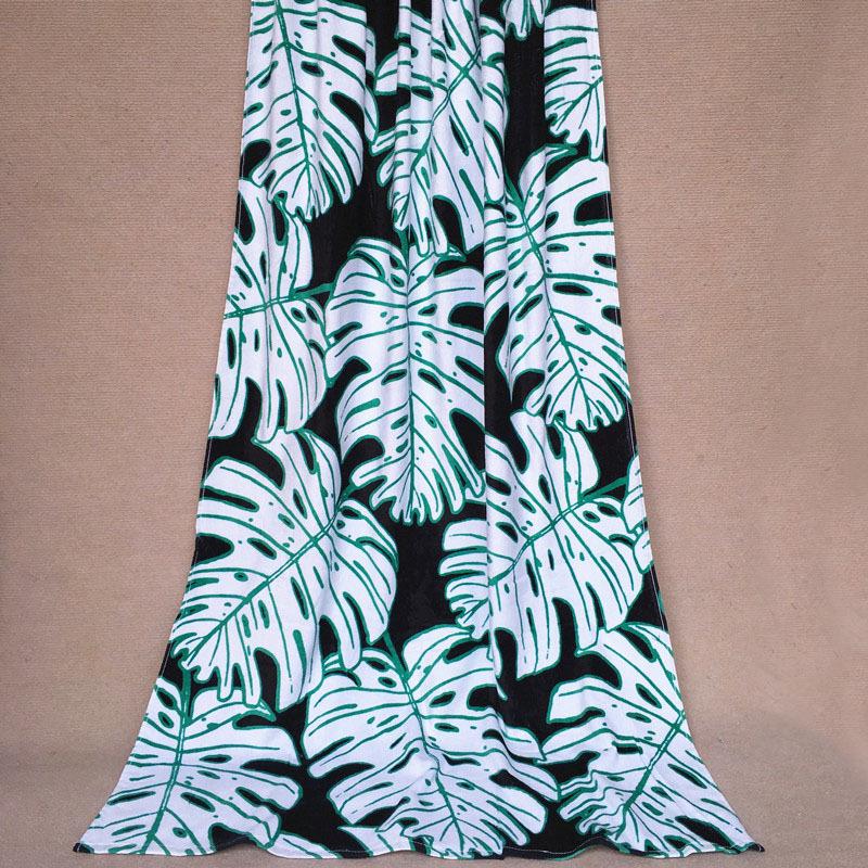 free-shipping fashion brand H vs M 100% cotton big quality black background white oak leaf pattern bath towel and beach towel(China (Mainland))