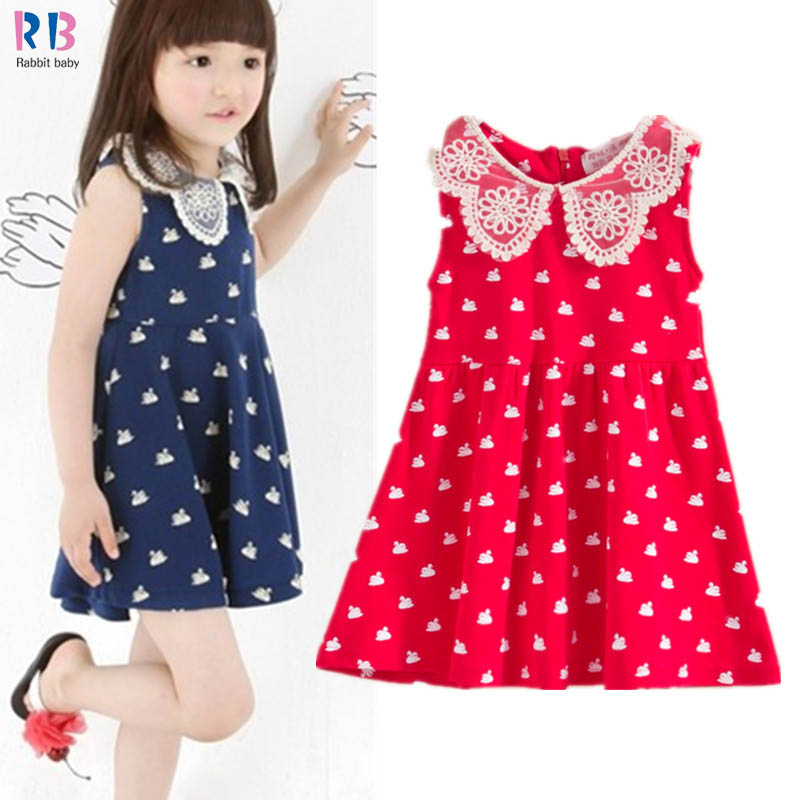 Summer Girls fashion doll collar lace dress full printed swan princess dress Kids sundress free shipping(China (Mainland))