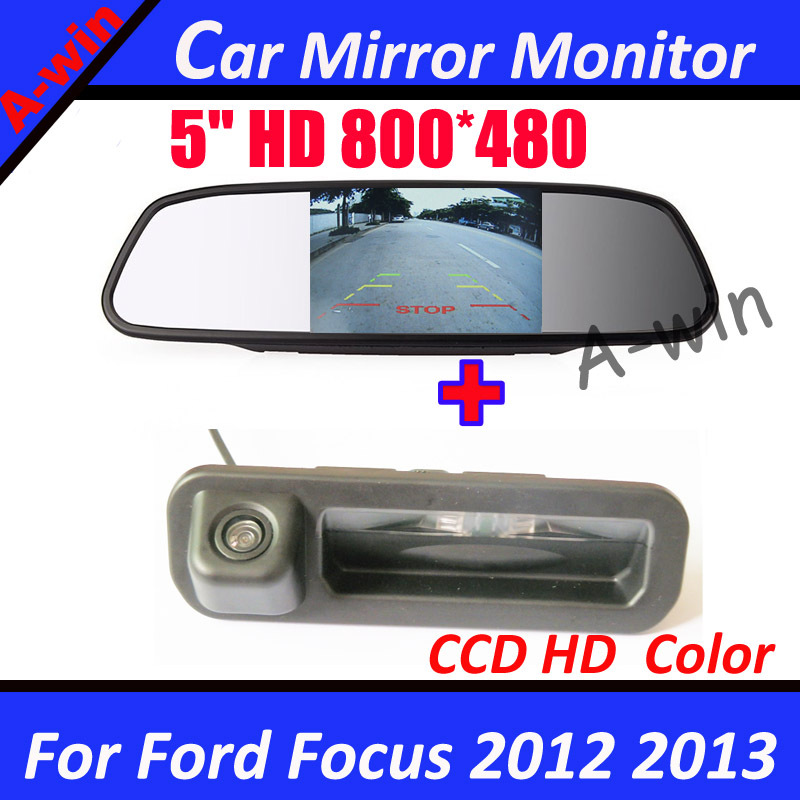 5inch HD Car monitor mirror 800*480 with car rear view parking camera for ford focus 2 ford focus 3 backup reverse camera(China (Mainland))