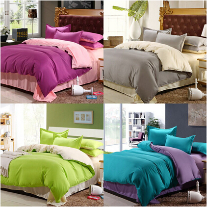 Hot 4Pcs Cotton Bedding-set Solid Hotel Bedding Sets Bed sheets Pillow Duvet Cover King Size Bedclothes Bedspread No Comforter(China (Mainland))