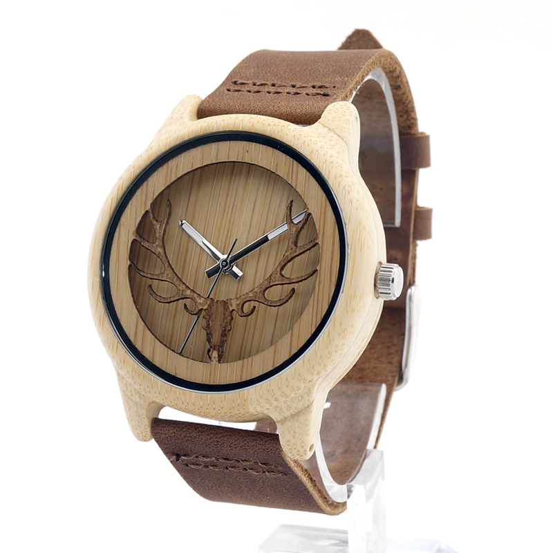 Bobobird Mens Deer Head Design Buck Bamboo Wooden Watches Luxury Wooden Bamboo Watches With Leather Quartz Watch with box<br><br>Aliexpress