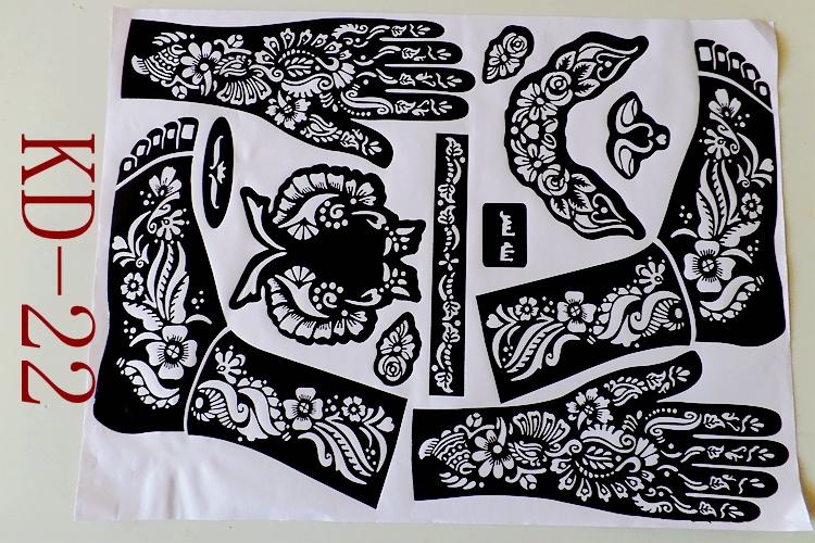 1pc KD22 Tattoo Templates hands/feet henna tattoo stencils for airbrushing professional mehndi new Body Painting Kit supplies(China (Mainland))