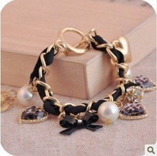 ( Can  )! Rivet Water Drop Leather Leopard Bowknot Heart Pearl Pendant Bracelets&Bangles Gold . BT139 Pulseras(China (Mainland))