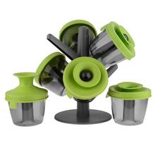 1Set Tree Spice Dispense Tray Seasoning sugar salt case etc Condiment Jar set 6pcs(China (Mainland))