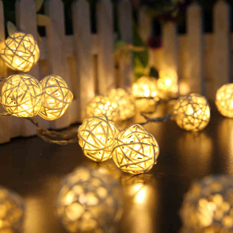 Colorful Rattan Ball Led Holiday Lighting 3M 20Leds Christmas LED String Lamp Party Home wedding Strip Decoration Garden Light(China (Mainland))