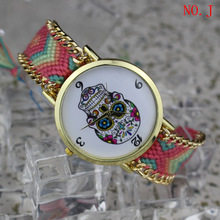 2016 Momen Watch New Arrival Handmade Rope Skull Bracelet Wristwatch Bohemia Lady Watch Quartz Watch Fashion Women Casual Watch