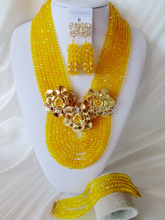 New Arrived Charming Yellow Crystal Beads Nigerian Wedding African Crystal Beads Jewelry Set Free Shipping CPS3874(China (Mainland))