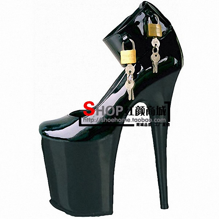 Free Shipping 20cm high heels locking high heel shoes women's shoes platform sexy single shoes sexy clubbing Exotic Dancer shoes(China (Mainland))