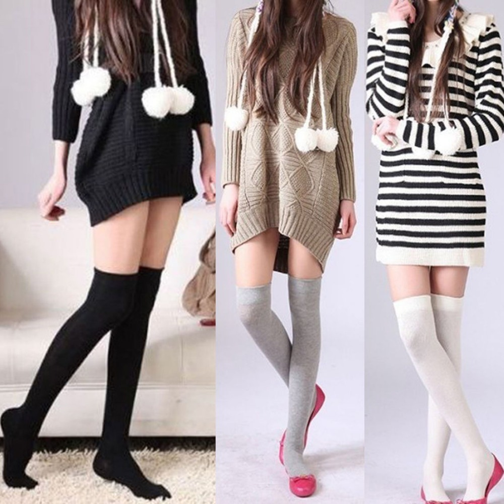 1 Pair Vogue New Girls Womens Lady Girls Thigh High OVER Knee Socks Long Cotton Stockings New 4 Colors(China (Mainland))