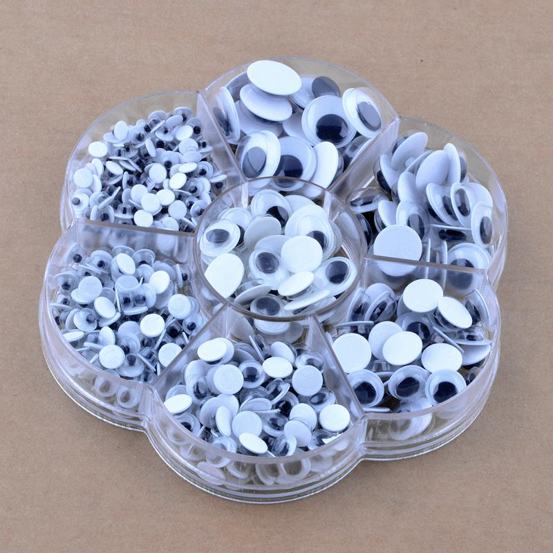 700pcs/box (mix 7 sizes.) Plastic With self-adhesive Activities eye Doll Scrapbooking Crafts handmade accessories(China (Mainland))