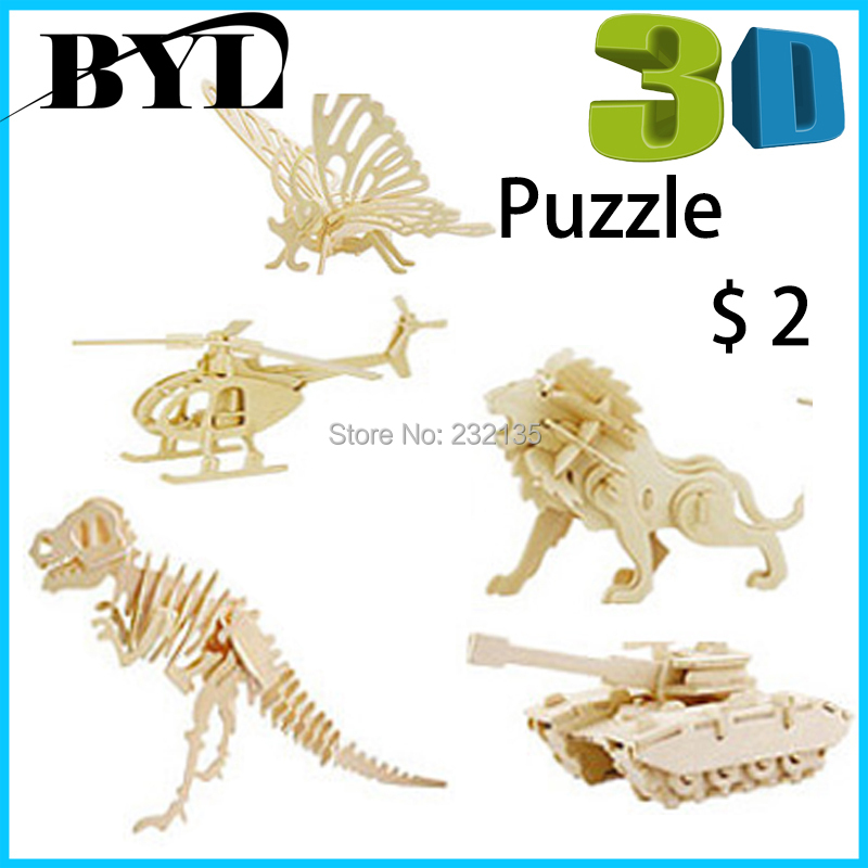 42 designs DIY Animal Woodcraft 3D Wooden Puzzle Jigsaw Wood model building kits toys Kids Art & Kraft Toys Children - BYL store