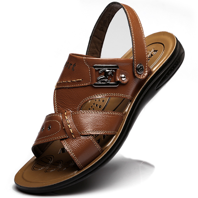 Big Size 37-48 Mens Sandals Slippers Genuine Leather Cowhide Outdoor Casual,Plus US 6-14 - Gyges store