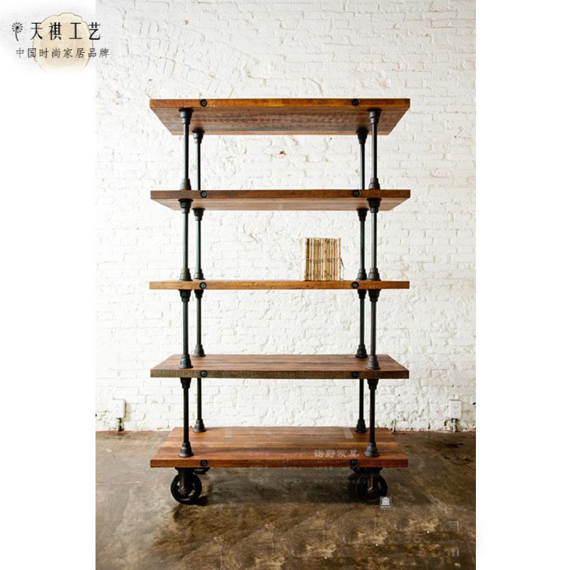 Moveable Solid Wood Ceramic Buffet Kitchen Sink Cabinet: American Iron Vintage Pulley Movable Sideboard Solid Wood