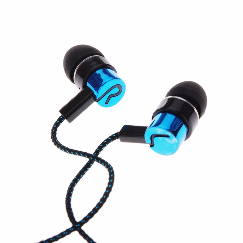 MP3/mp4 Roping Stereo Subwoofer Earphone In Ear Earbud Reflective Fiber Cloth Line Metal Earphone 1.1M Hot Sale