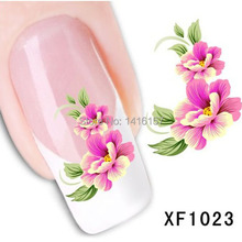 Min.order is $10 (mix order) Water Transfer Nail Art Stickers Decal Beauty Red Peony Flowers Green Leaf Design Manicure Tool