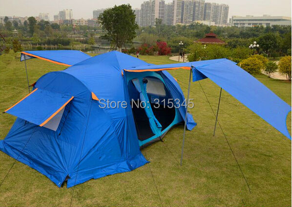 four-season waterproof carrying bag easy up tent 5-8 person quick pitch tent double layer mountain camping tent shelter tent(China (Mainland))