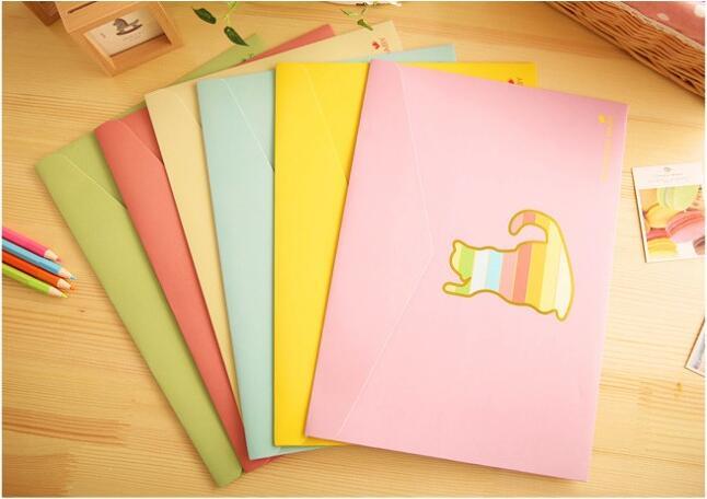 Korea Creative Stationery Candy-Colored Paper- Bag Marine Animals / Folder