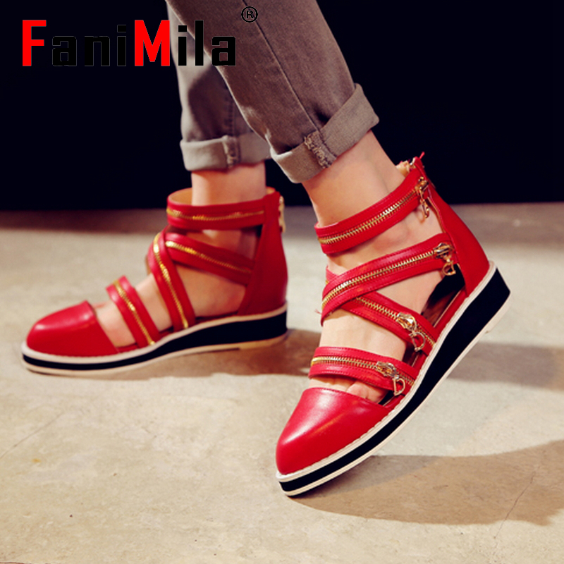 women real genuine leather fretwork ankle strap pointed toe flat sandals brand sexy fashion heeled ladies shoes size 33-43 R6551<br><br>Aliexpress