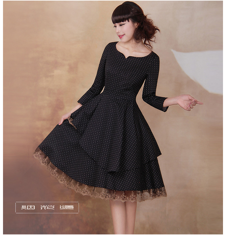 [DEMONSTYLE] 2016 Spring new arrival lady's dress,women's lace patchwork dot dress(China (Mainland))
