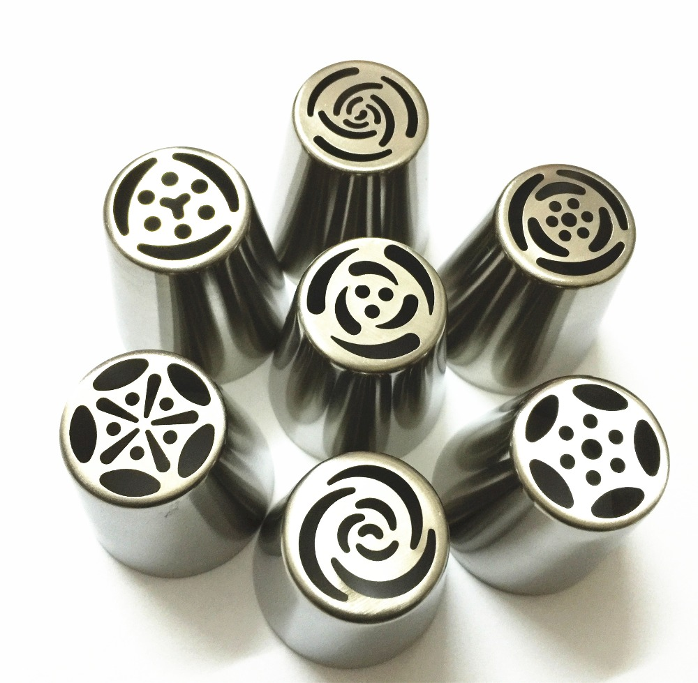 7PCS Stainless Steel Russian Tulip Icing Piping Nozzles Pastry Decorating Tips Cake Cupcake Decorator Rose Kitchen Accessories(China (Mainland))