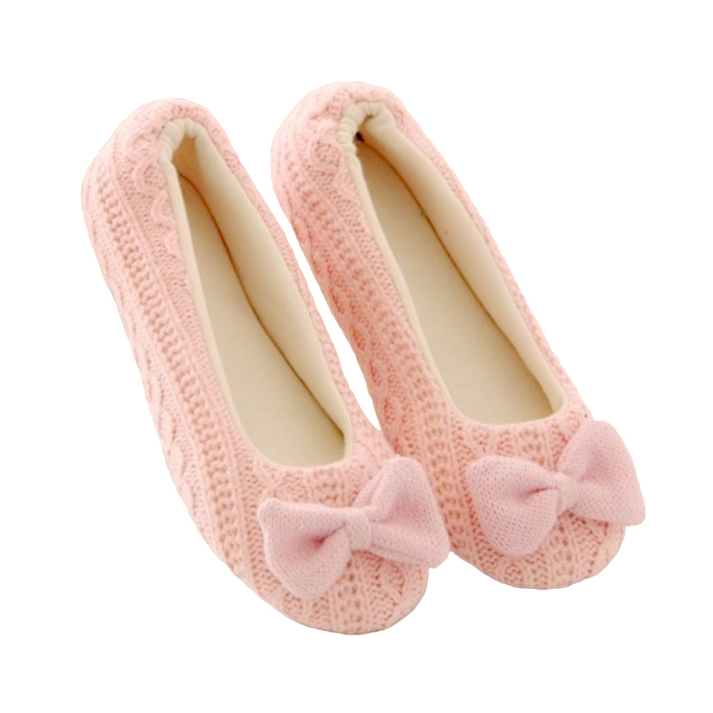 Cute Women Knitted Shoes Soft Sole Bowtie Crochet Indoor Home Shoes Slippers Dancing Yoga Shoes(China (Mainland))