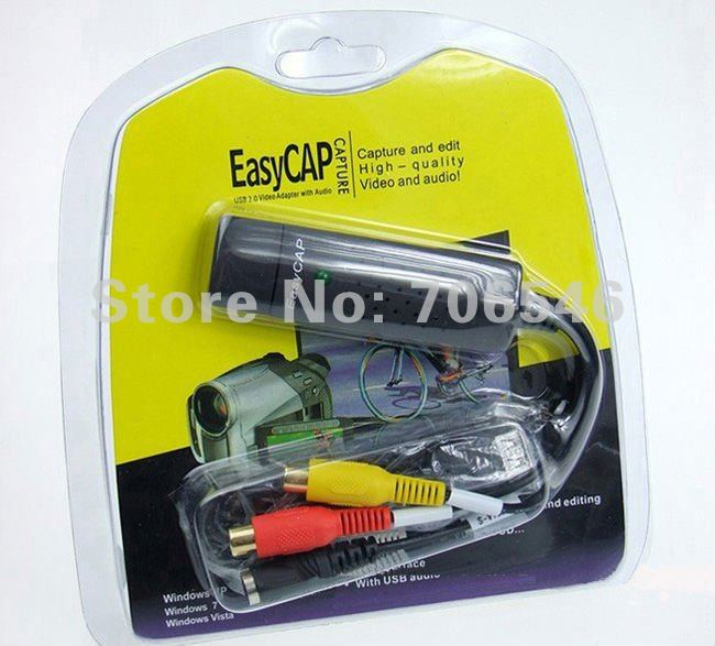 Easycap USB Video Capture Card Grabber for PS2 PS3 Wii and XBOX 360 GamePlay Recording 50pcs + Free shipping(China (Mainland))