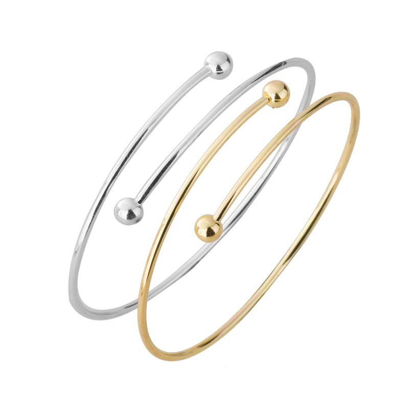 30pcs/lot simple style bangels 2015 Womens Personality Exaggerated Double Ball Thin Wire Warp Bangle Cuff Bracelet G17<br><br>Aliexpress
