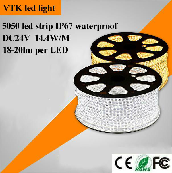 Cool White ip67 waterproof 5050 SMD LED Strip 600 Leds 60LED/M, 24v led strip 5050 waterproof with CE RoHS 2 years warranty(China (Mainland))