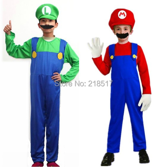 Hot Kids Super Mario Bros Cosplay Costume Set,Kids Halloween Party MARIO & LUIGI Costume For Kids D-1527(China (Mainland))