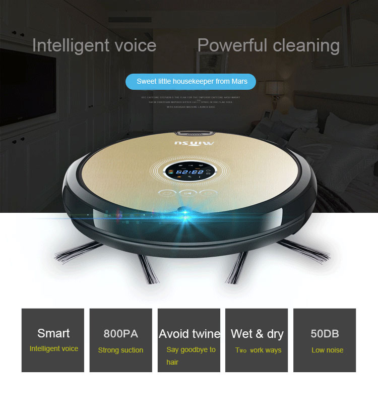 Multificational Smart Vacuum Cleaning Robot with APP Control LCD Touch Screen Schedule Auto Charge Wet and Dry Clean ASPIRADOR(China (Mainland))