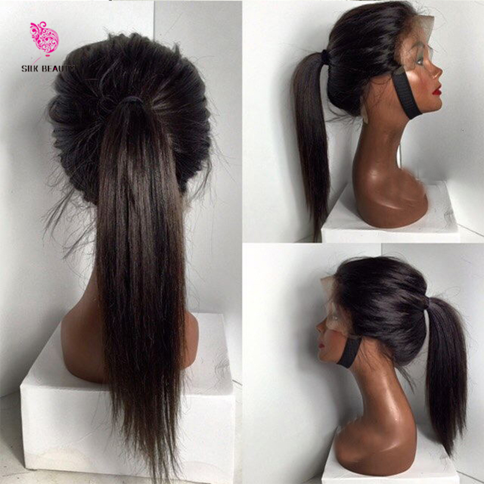Virgin Brazilian Straight Lace Front Ponytail Wigs / Full Lace Human Hair Wigs Glueless Full Lace Wig Ponytail With Baby Hair(China (Mainland))