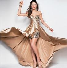 S-4XL Plus Size Sexy Strapless Irregular Evening Dress 2016 Vestido De Festa Longo Slim Sequins Party Dresses Formal BV103(China (Mainland))