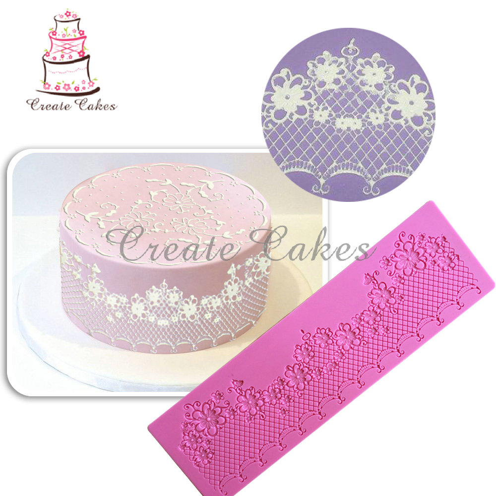 Flower Chain Decoration Lace Mat Cake Mold Bakeware Baking Silicone Lace Mold Fondant Decoration Tools for Wedding Cake LFM-35(China (Mainland))